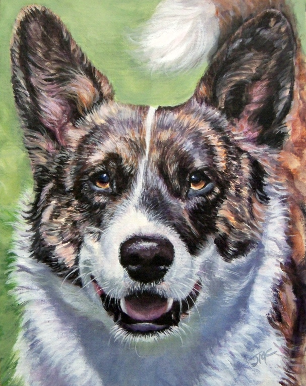"Cardigan Welsh Corgi ""Filbert"" (Acrylic on Canvas)"